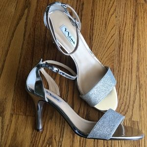 Nina Silver Sparkly Strap Heels, size 8.5